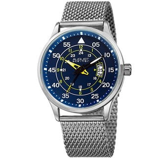 August Steiner Men's Quartz Easy-to-Read Stainless Steel Silver-Tone Bracelet Watch