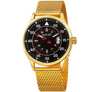 August Steiner Men's Quartz Easy-to-Read Stainless Steel Gold-Tone Bracelet Watch