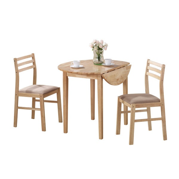 Merveilleux Coaster Company White And Natural 3 Piece Dining Set