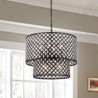 Multicolored Metal 2-tier Drum Chandelier