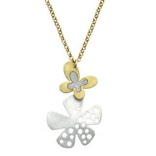 Isla Simone - Two-Tone Crystalized Butterfly And Flower Necklace