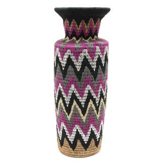 Handmade Unique Lutindzi Grass Decorative Vase (Swaziland)