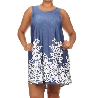 Plus Size Women's Paisley Blue Polyester/Spandex Sleeveless Dress