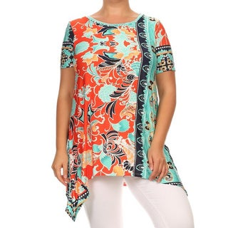 Plus Size Women's Polyester and Spandex Ornate Tunic
