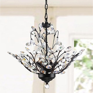 Terra Antique Copper Iron Clear Glass Crystal 4-light Chandelier
