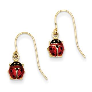 14k Enameled Ladybug Dangle Earrings by Versil