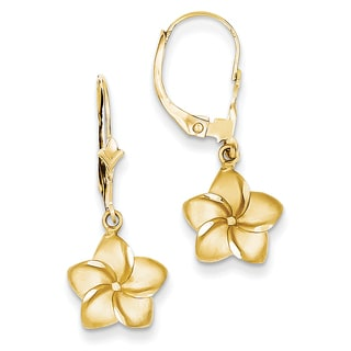 14k Satin and Diamond-Cut Plumeria Dangle Leverback Earrings by Versil