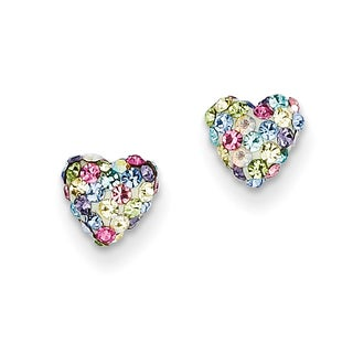 14k Pastel Multi-colored Crystal 6mm Heart Post Earrings by Versil