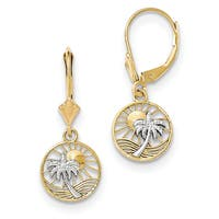 14k and Rhodium Palm Tree Leverback Earrings by Versil