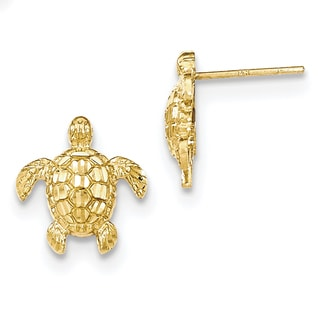 14k Gold Polished and Textured Sea Turtles Post Earrings by Versil