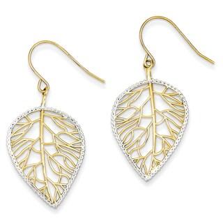 14k and Rhodium Leaf Drop Earrings by Versil