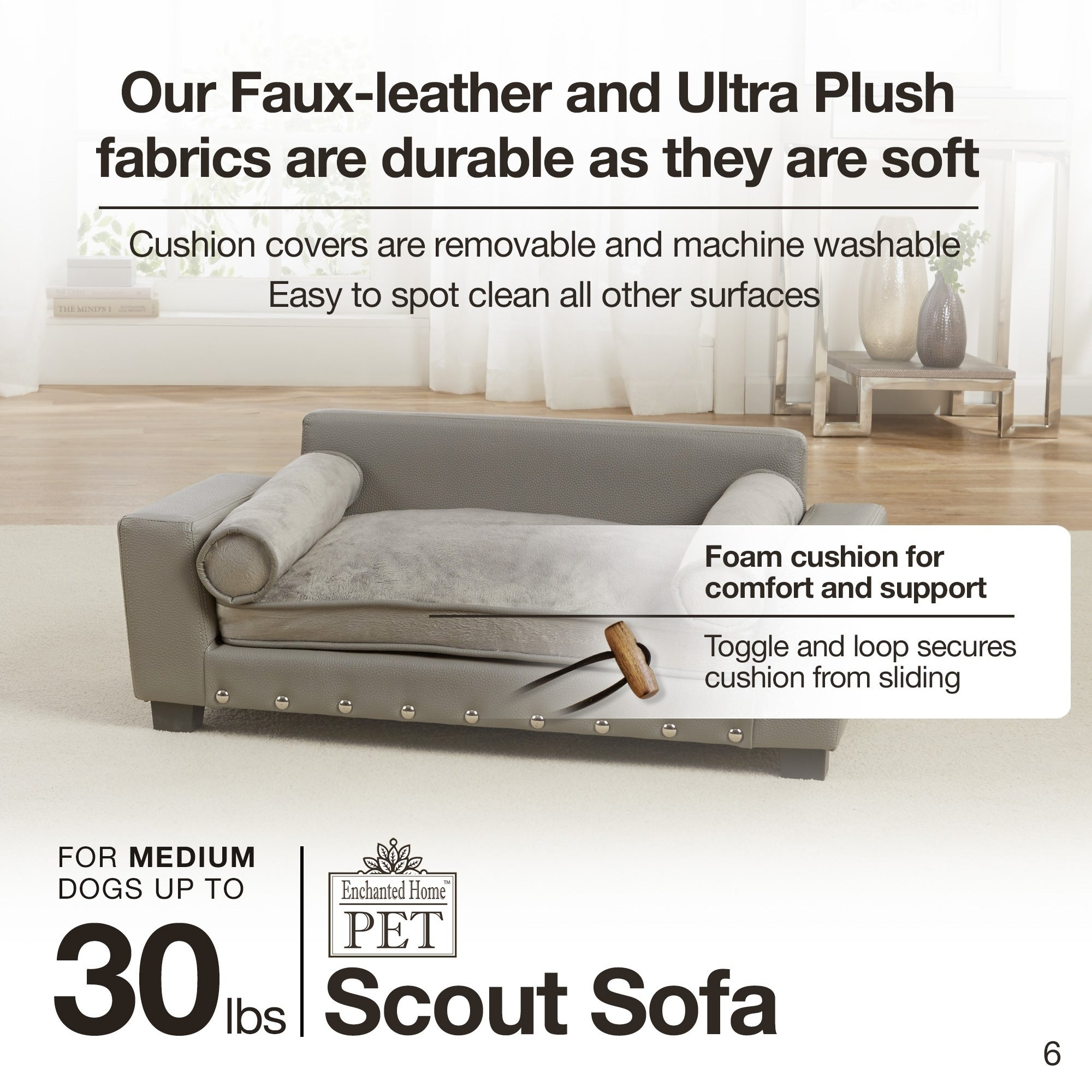 Enchanted Home Pet Scout Grey Faux Leather Pet Sofa Bed