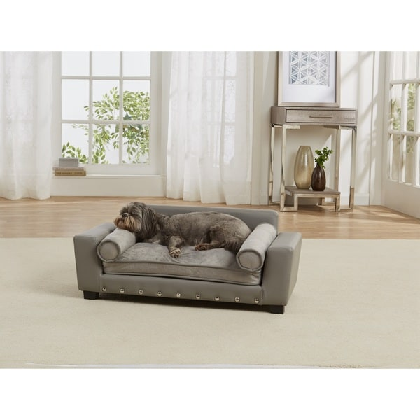 Enchanted Home Pet Scout Grey Faux Leather Pet Sofa Bed. Opens flyout.