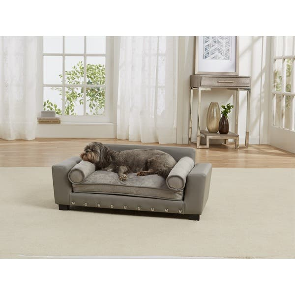 Awesome Shop Enchanted Home Pet Scout Grey Faux Leather Pet Sofa Bed Machost Co Dining Chair Design Ideas Machostcouk