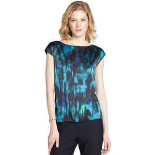 Tahari Midnight Dream Blue/Green Polyester Blouse