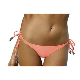 PilyQ Enjoy Coral Beaded Tassels Teeny Bikini Bottom
