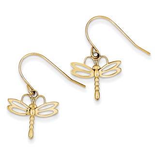 14k Dragonfly Shepherd Hook Earrings by Versil
