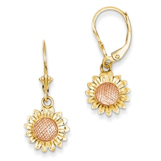 14k Two-tone Polished Sunflower Dangle Leverback Earrings by Versil