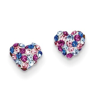14k Multi-colored Crystal 6mm Heart Post Earrings by Versil