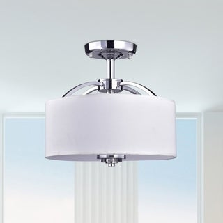 Anchiles White Crystal/Metal/Glass 3-light Semi Flush Mount Ceiling Lamp