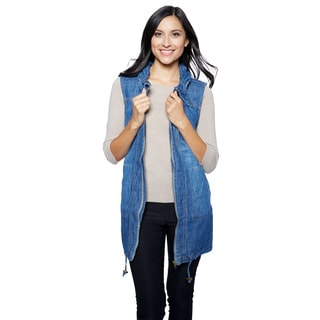 Live A Little Women's Indigo Cotton Gathered-collar Anorak Vest