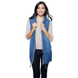 Live A Little Women's Indigo Cotton Gathered-collar Anorak Vest