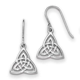 Sterling Silver Rhodium-plated Polished Celtic Knot Shepherd Hook Earrings by Versil