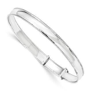 Sterling Silver Polished Milgrain 7mm Adjustable Bangle by Versil - White