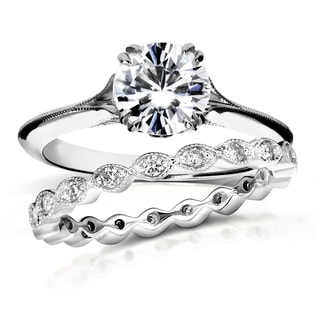 Annello 14k White Gold 1ct Brilliant Moissanite and 2/5ct TDW Diamond Floral Antique Bridal Set (G-H, I1-I2)