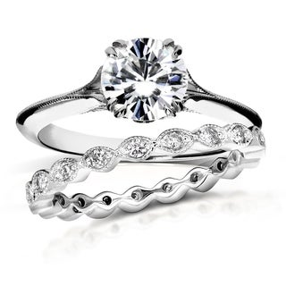 Annello by Kobelli 14k White Gold 1 2/5ct TGW Moissanite (FG) and Diamond (GH) Floral Antique Bridal Set (More options available)