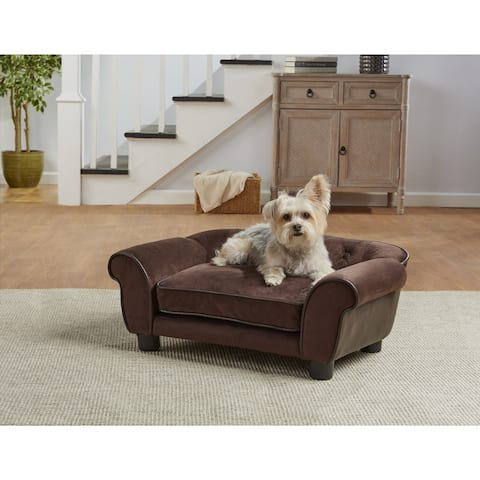 Enchanted Home Pet Cleo Brown Faux Leather Microfiber Pet Sofa Bed
