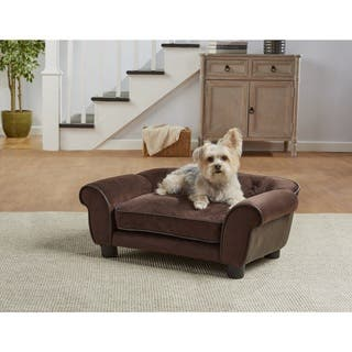 Enchanted Home Pet Cleo Brown Faux Leather Microfiber Sofa Bed
