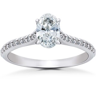14k White Gold 1 1/4 ct TDW Oval Diamond Vintage Engagement Ring Solitaire Single Accent Row Setting (H-I, I1-I2)