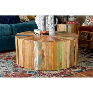 Hatteras drum reclaimed woodblock barrel coffee table by for Coffee tables 16 inches high