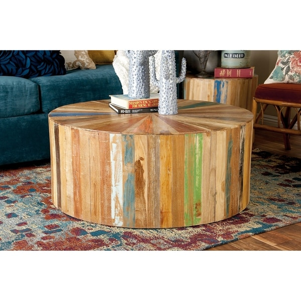 38 Inch Round Table.Shop Rustic 16 X 38 Inch Round Reclaimed Wood Coffee Table By Studio