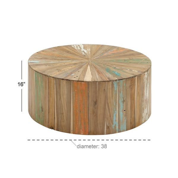 Terrific Shop Rustic 16 X 38 Inch Round Reclaimed Wood Coffee Table Lamtechconsult Wood Chair Design Ideas Lamtechconsultcom