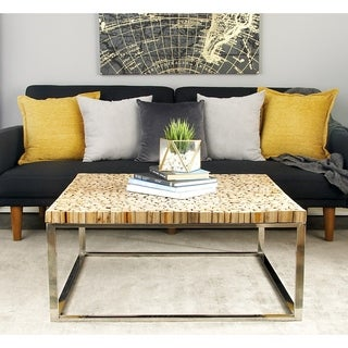 Stainless Steel Teak Coffee Table (36 inches wide x 16 inches high)