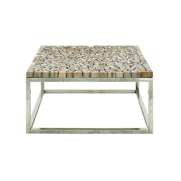 Stainless steel teak coffee table 36 inches wide x 16 for Coffee tables 16 inches high
