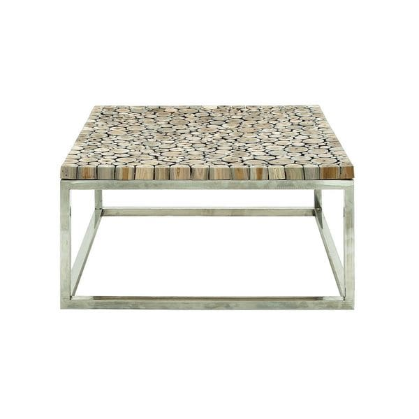 Stainless steel teak coffee table 36 inches wide x 16 for Coffee tables 36 inches