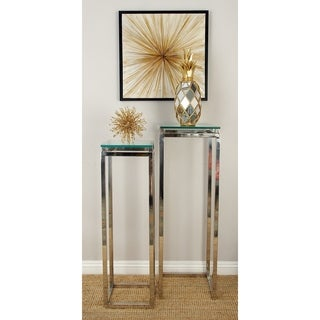 Stainless Steel Glass Pedestal (Set of 2)