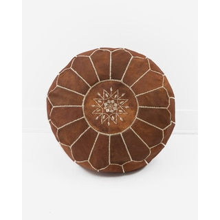 Moroccan Leather Pouf Unstuffed Ottoman, Natural Brown (Morocco)