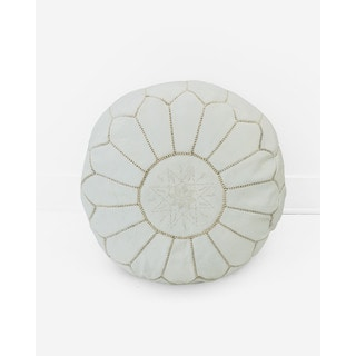Moroccan Leather Pouf Unstuffed Ottoman, White (Morocco)