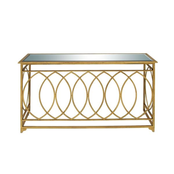 Metal mirror gold console table 54 inches wide x 32 for 65 sofa table