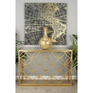 Traditional 32 x 47 Inch Geometric Iron Console Table by Studio 350