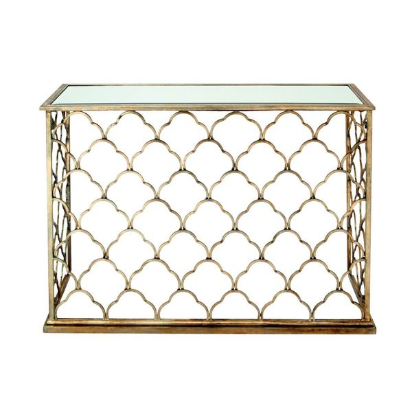 Metal glass console table 47 inches wide x 32 inches high for 10 inch wide console table