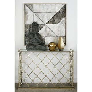 Metal Glass Console Table (47 inches wide x 32 inches high)