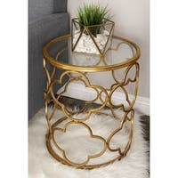 Metal Glass Accent Table (16 inches wide x 20 inches high)