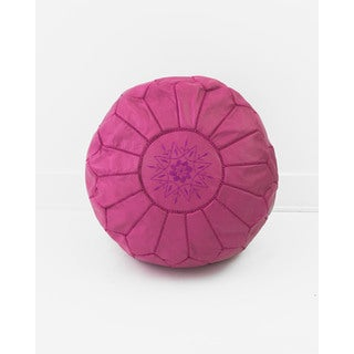 Moroccan Leather Pouf Unstuffed Ottoman, Fuchsia Pink (Morocco)