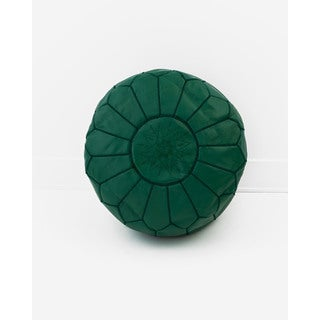 Moroccan Leather Pouf Hunter Green Unstuffed Ottoman (Morocco)