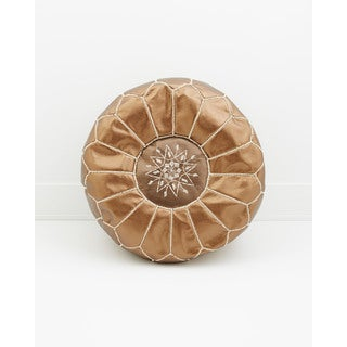 Moroccan Leather Pouf Copper Unstuffed Ottoman (Morocco)